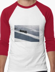 Small house with trees around in a winter landscape Men's Baseball ¾ T-Shirt