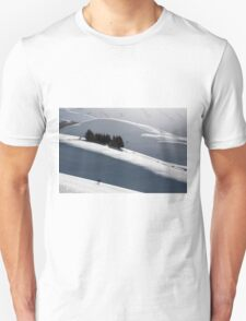 Small house with trees around in a winter landscape Unisex T-Shirt