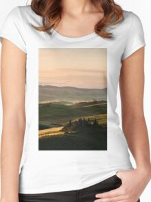 Sunrise in Val d'Orcia, Tuscany Women's Fitted Scoop T-Shirt