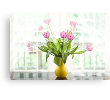Pink Tulips In The Window Canvas Print