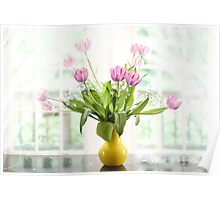 Pink Tulips In The Window Poster