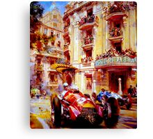 MONACO GRAND PRIX ;Vintage Auto Racing Painting Canvas Print