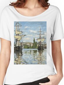 Claude Monet - Ships Riding On The Seine At Rouen 1872  Women's Relaxed Fit T-Shirt