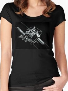 Multi Dimensional Abstract Ink Inverted Women's Fitted Scoop T-Shirt