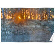 Foggy Goulburn Sunrise Poster