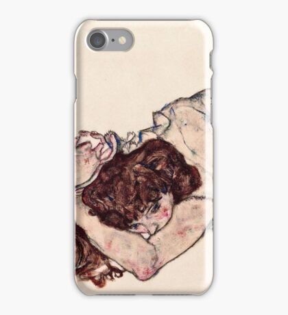 Egon Schiele - Kneeling Girl, Resting on Both Elbows (1917)  iPhone Case/Skin