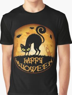 Happy Halloween Meow Cat and Night Graphic T-Shirt