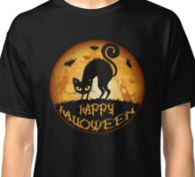 Happy Halloween Meow Cat and Night Classic T-Shirt