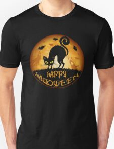 Happy Halloween Meow Cat and Night Unisex T-Shirt
