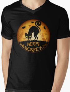 Happy Halloween Meow Cat and Night Mens V-Neck T-Shirt