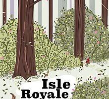 Isle Royale National Park vintage travel poster by Nick  Greenaway