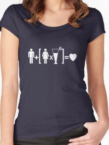 Man Plus Women Times Drinks Equals Love. Drinking Relationship Humor T-shirt Women's Fitted Scoop T-Shirt
