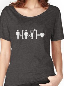 Man Plus Women Times Drinks Equals Love. Drinking Relationship Humor T-shirt Women's Relaxed Fit T-Shirt