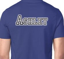 ASHLEY, Name, Tag, Ash, meadow, forest clearing, Given name, on Blue Unisex T-Shirt