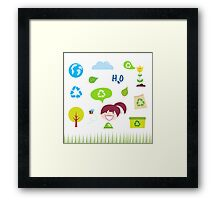 Recycle, nature and ecology icons isolated on white background Framed Print