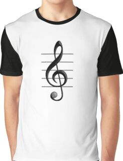 MUSIC, Musical, Note, Sound, Listen, Treble Clef, Triple Clef, Clef Graphic T-Shirt