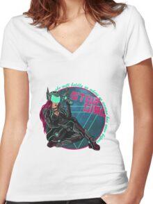 Star Girl - Pin-Up Warriors Women's Fitted V-Neck T-Shirt