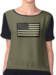 AMERICAN, ARMY, reverse side flag, Soldier, American Military, Arm Flag, US Military, IR, Infrared, USA, Flag, on BLACK Chiffon Top