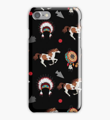 Native American pattern on black iPhone Case/Skin