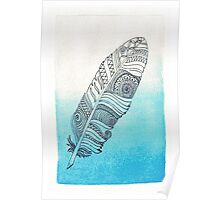 blue watercolor feather  Poster