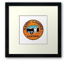 CAMPING HAPPY CAMPER CALIFORNIA TRAILER RV RECREATIONAL VEHICLE Framed Print