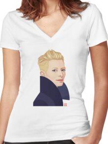 Tilda Swinton Women's Fitted V-Neck T-Shirt