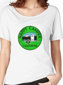 CAMPING HAPPY CAMPER CALIFORNIA TRAILER RV RECREATIONAL VEHICLE 3 Women's Relaxed Fit T-Shirt