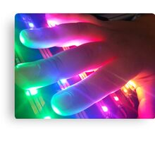 Hand Touching Colorful Lights Canvas Print