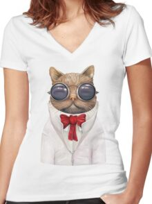 Astro Cat! Women's Fitted V-Neck T-Shirt