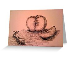 Charcoal Apple Still Life Greeting Card