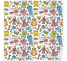 Doodle fashion shopping seamless pattern Poster