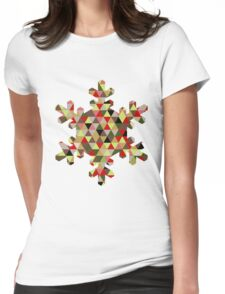 Multicoloured Modern Triangle Snowflake Christmas Design Womens Fitted T-Shirt