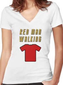 Red Man Walking ( Clothing & Stickers)  Women's Fitted V-Neck T-Shirt