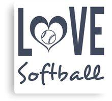 Love Softball (blue) Canvas Print