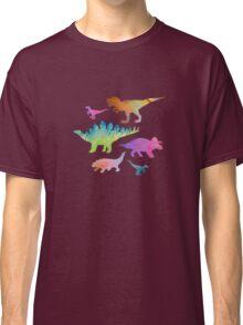 Dinosaur rainbow on black Classic T-Shirt