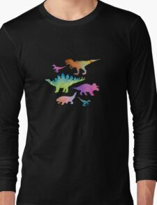 Dinosaur rainbow on black Long Sleeve T-Shirt