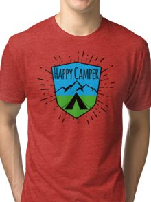 HAPPY CAMPER CAMPING TENT MOUNTAINS OUTDOORS LOVE Tri-blend T-Shirt