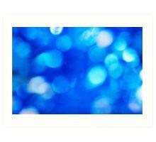 Blue defocused background with bokeh Art Print