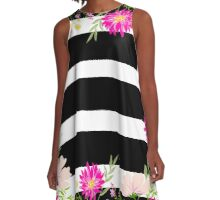 Modern,floral,pattern,black,white,stripes,water color,hand painted,flowers,pink,green,peach,trendy,girly A-Line Dress