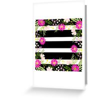 Modern,floral,pattern,black,white,stripes,water color,hand painted,flowers,pink,green,peach,trendy,girly Greeting Card