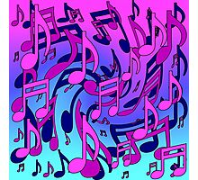 Music Notes Blue Purple Aqua Pink Pattern Photographic Print