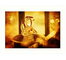 Christmas decoration with angel and candle light Art Print