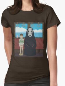 No Face Train Womens Fitted T-Shirt