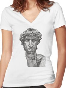 David - Statue of David Women's Fitted V-Neck T-Shirt