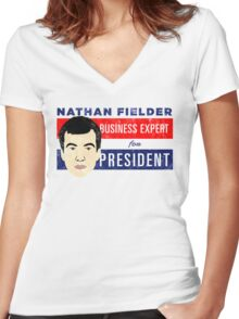 Nathan Fielder for President (Nathan for You) Women's Fitted V-Neck T-Shirt