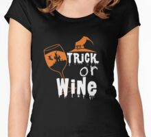 Halloween Shirt - trick or wine Women's Fitted Scoop T-Shirt