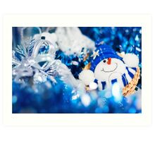 Christmas card in blue colors Art Print