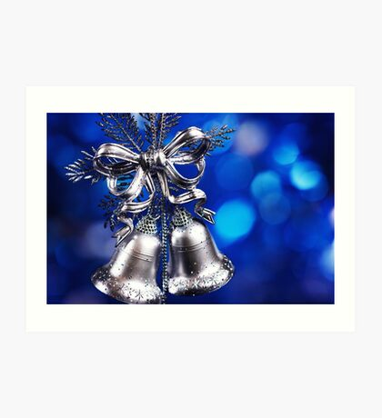 Christmas decoration with silver bells  Art Print