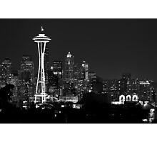 Downtown Seattle at Night (Black and White) Photographic Print
