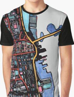 Abstract Map of New Bedford Graphic T-Shirt